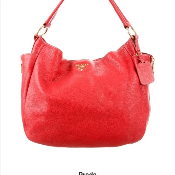 PRADA Vitello Daino Vermillion Leather Hobo Bag. M 5bdc80a445c8b3009e4478f3 03e57e1dc0282